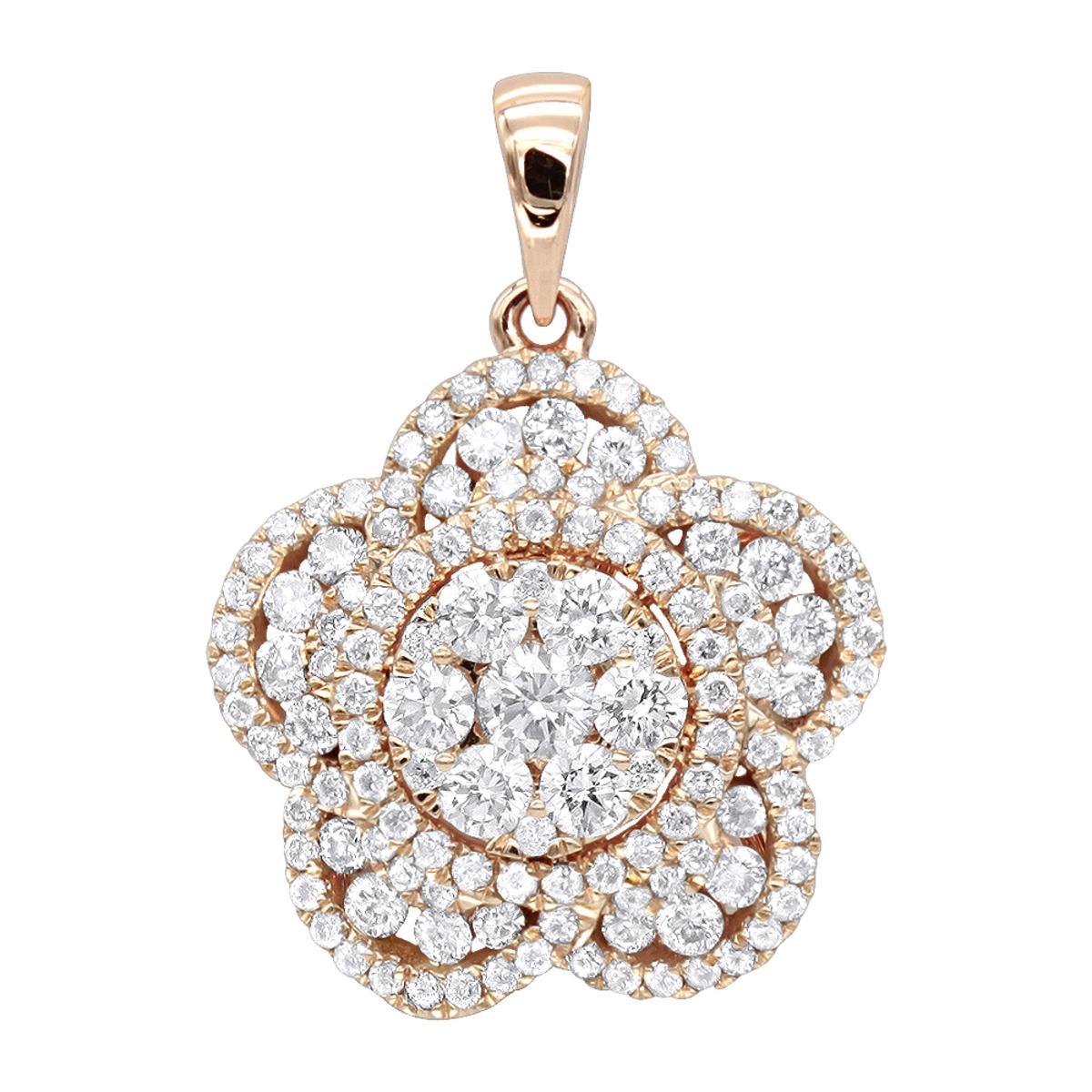 14K Gold Designer Ladies Diamond Flower Pendant 1.25ct by Luxurman