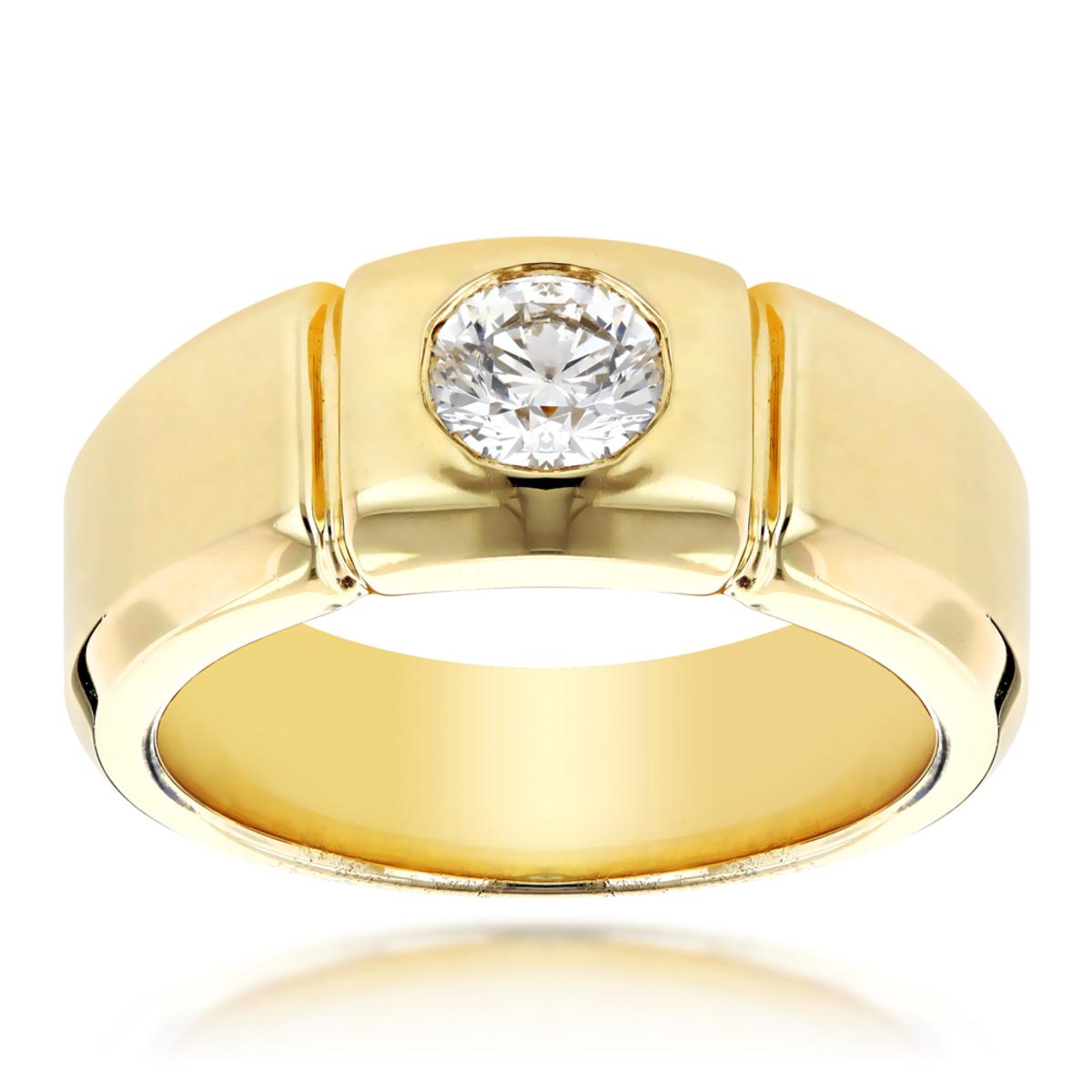 14K Gold Designer Mens Diamond Wedding Ring 0.5ct