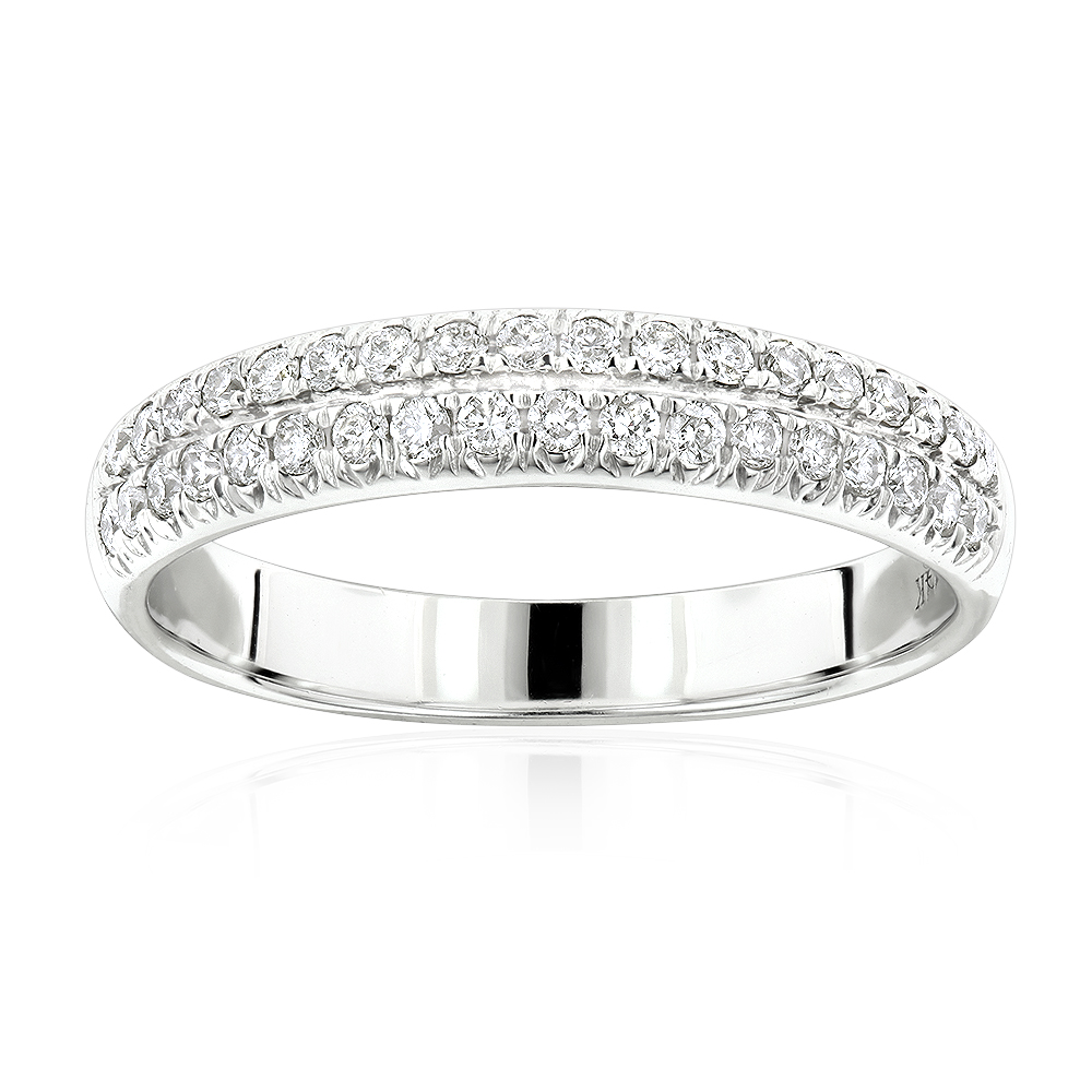 14K Gold Designer Thin Diamond Wedding Band for Women by Luxurman 0.42ct