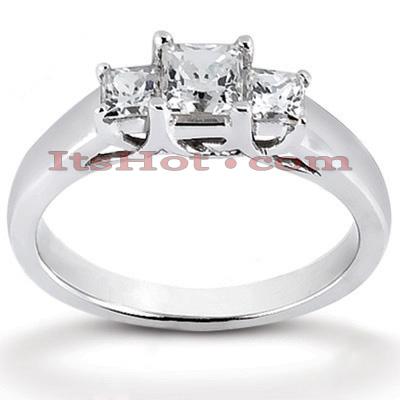 Thin 14K Gold Diamond 3 Stone Engagement Ring 0.43ct