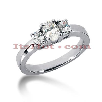 Thin 14K Gold Diamond 3 Stone Engagement Ring 0.50ct