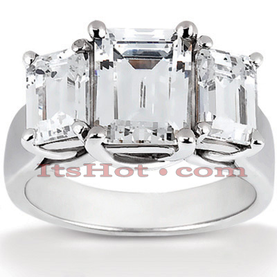 14K Gold Diamond 3 Stone Engagement Ring 0.75ct