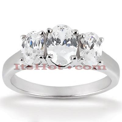 Thin 14K Gold Diamond 3 Stone Engagement Ring 0.75ct