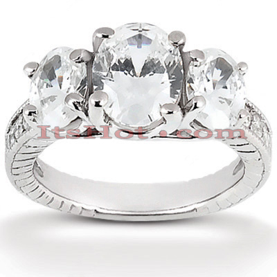 Thin 14K Gold Diamond 3 Stone Engagement Ring 1.03ct