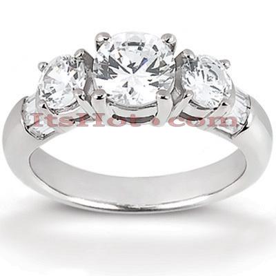 Thin 14K Gold Diamond 3 Stone Engagement Ring 1.20ct