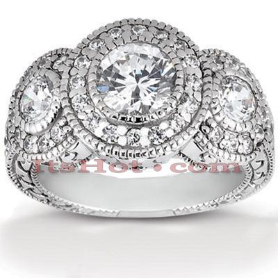 Thin 14K Gold Diamond 3 Stone Engagement Ring 1.59ct