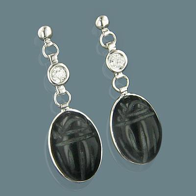 14K Gold Diamond and Black Onyx Scarab Earrings 0.25ct