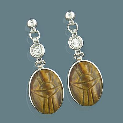 14K Gold Diamond and Tiger Eye Scarab Earrings 0.25ct