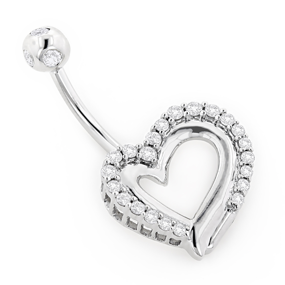 14K Gold Diamond Belly Button Jewelry Piece 0.4ct