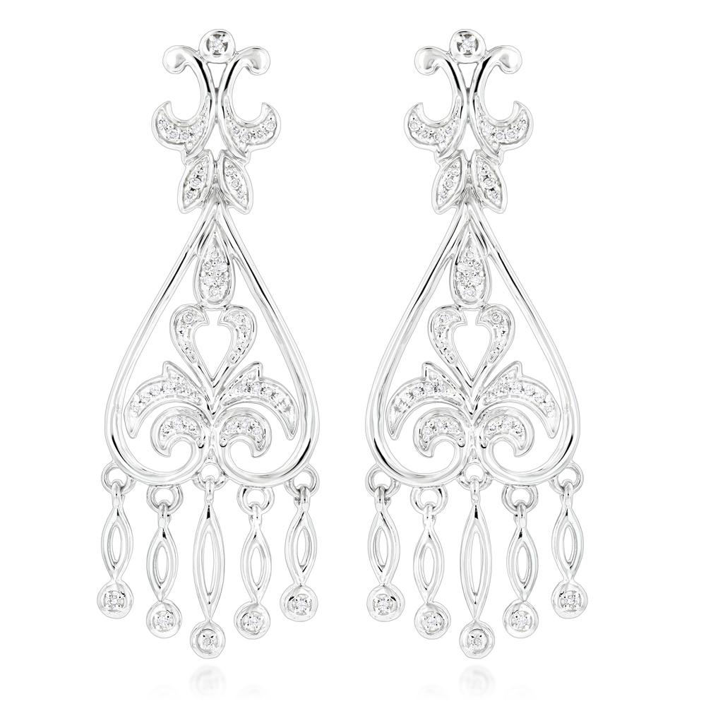 14K Gold Diamond Chandelier Earrings for Women 0.37ct