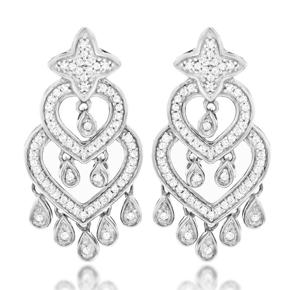 14K Gold Diamond Chandelier Earrings 0.42ct
