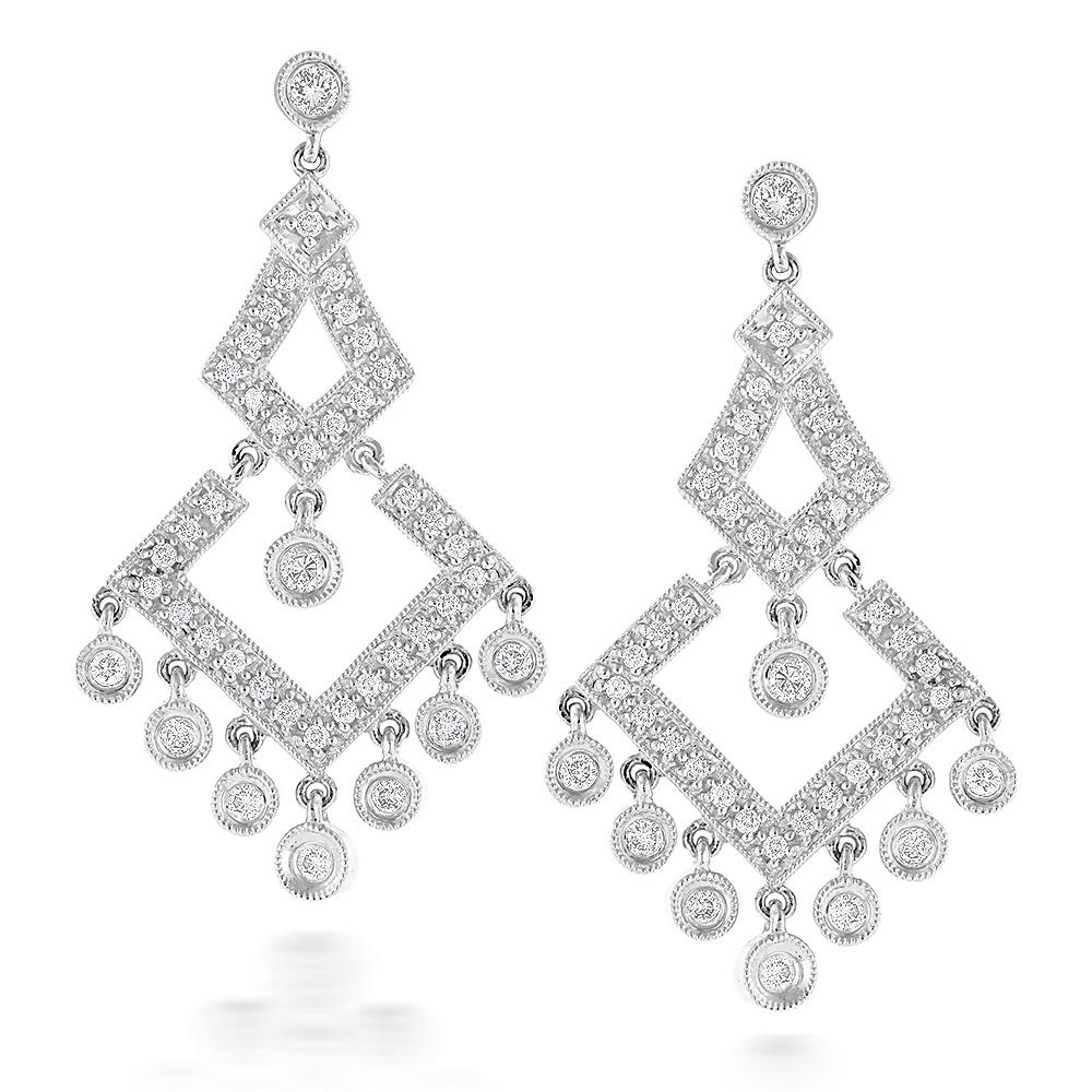 14K Gold Diamond Chandelier Earrings 0.77ct