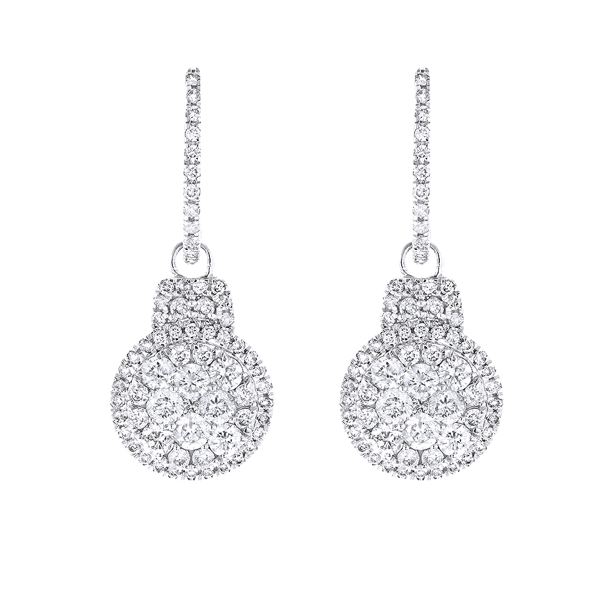 14K Gold Diamond Circle Earrings 1.95ct