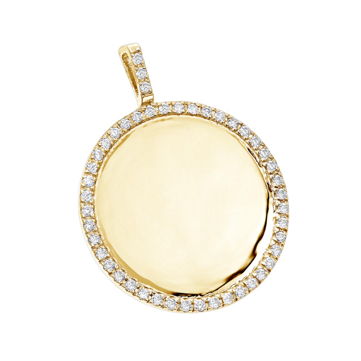 14K Gold Diamond Circle Medallion Pendant for Women 0.5ct by Luxurman