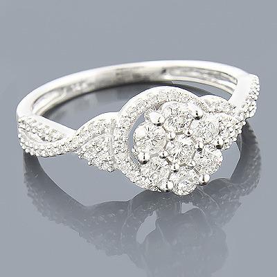 14K White Gold Diamond Cluster Ring 0.55ct Promise or Engagement Ring