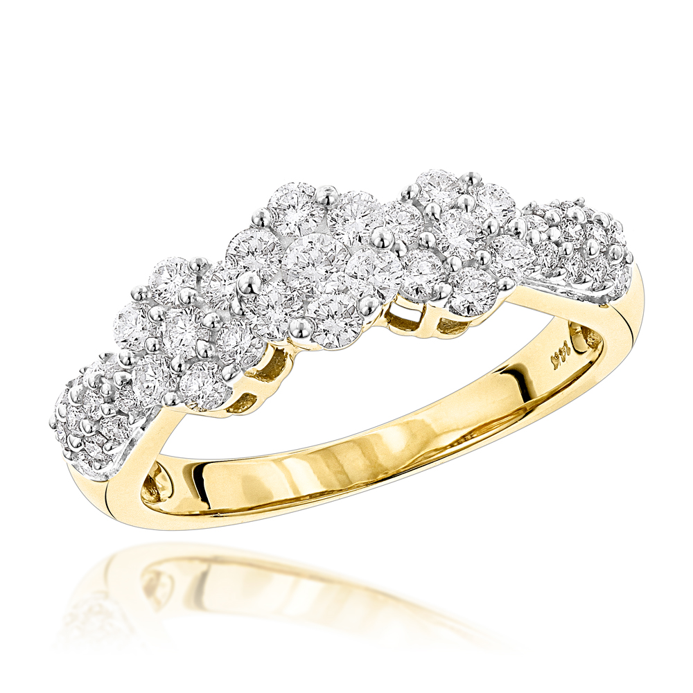 14K Gold Diamond Cluster Ring Past Present Future .95ct