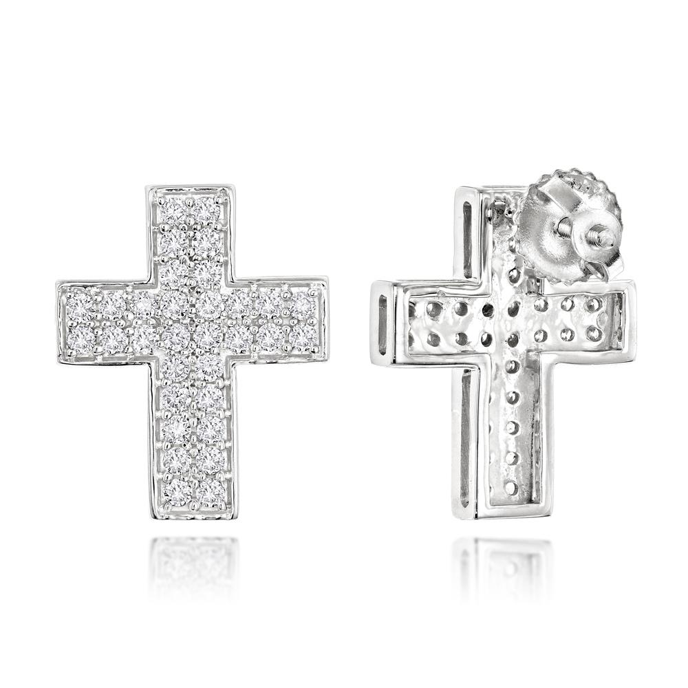 14k Gold Diamond Cross Earrings 0.55ct