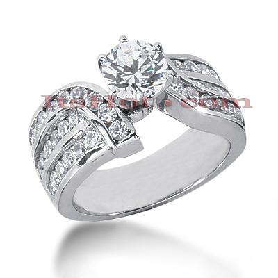 14K Gold Diamond Designer Engagement Ring 1.57ct