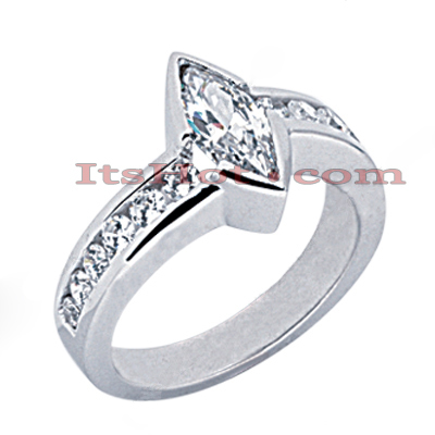 14K Gold Round & Marquise Diamond Engagement Ring 1.79ct