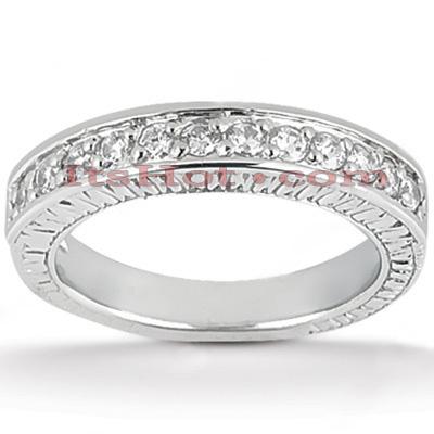 Thin 14K Gold Diamond Designer Engagement Ring Band 0.39ct