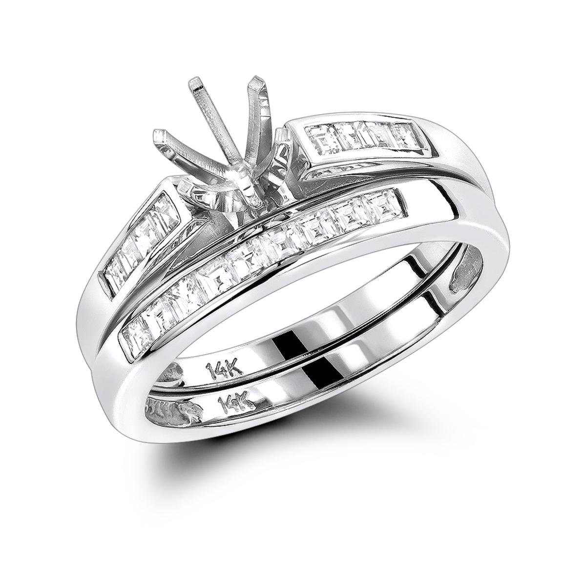 14K Gold Diamond Designer Engagement Ring Set 0.57ct