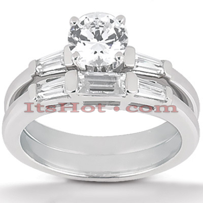 14K Gold Diamond Designer Engagement Ring Set 0.63ct