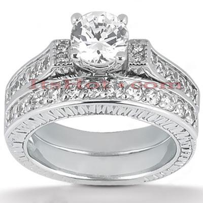 14K Gold Diamond Designer Engagement Ring Set 0.72ct
