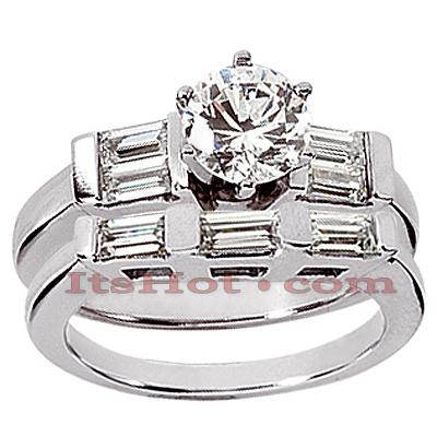 14K Gold Diamond Designer Engagement Ring Set 0.80ct