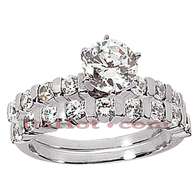 14K Gold Diamond Designer Engagement Ring Set 0.85ct