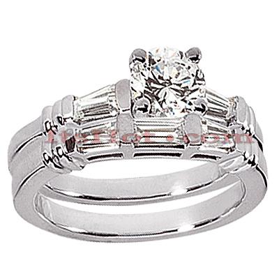 14K Gold Diamond Designer Engagement Ring Set 1.12ct