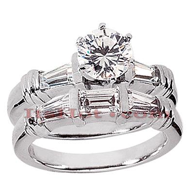 14K Gold Diamond Designer Engagement Ring Set 1.14ct