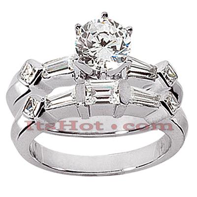 14K Gold Diamond Designer Engagement Ring Set 1.15ct