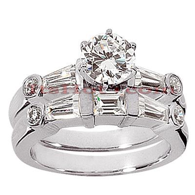 14K Gold Diamond Designer Engagement Ring Set 1.24ct