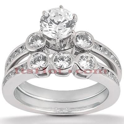 14K Gold Diamond Designer Engagement Ring Set 1.26ct