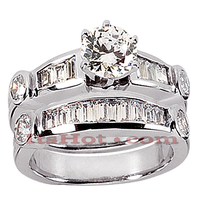 14K Gold Diamond Designer Engagement Ring Set 1.29ct
