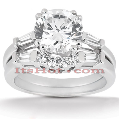 14K Gold Diamond Designer Engagement Ring Set 1.37ct