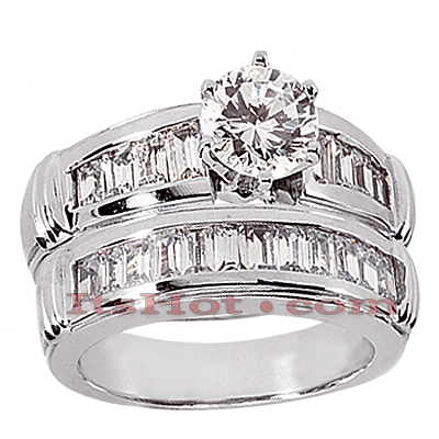 14K Gold Diamond Designer Engagement Ring Set 1.46ct