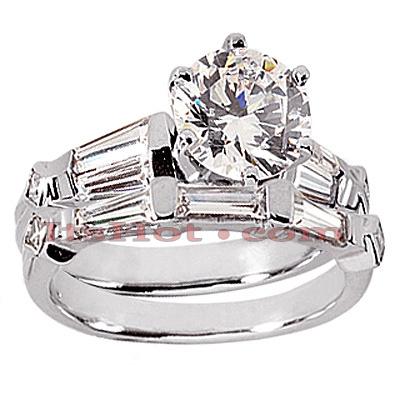 14K Gold Diamond Designer Engagement Ring Set 1.62ct