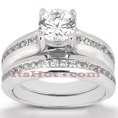 14K Gold Round Diamond Engagement Ring Set 1.76ct