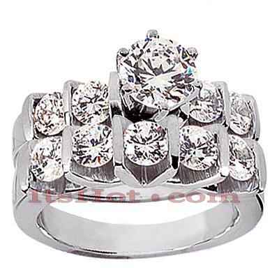 14K Gold Diamond Designer Engagement Ring Set 1.80ct
