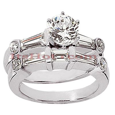 14K Gold Diamond Designer Engagement Ring Set 1.83ct