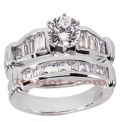 14K Gold Diamond Designer Engagement Ring Set 1.84ct