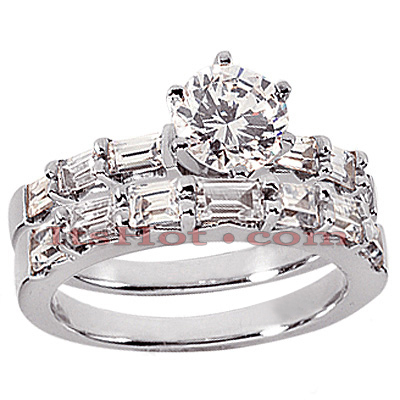 14K Gold Diamond Designer Engagement Ring Set 1.97ct