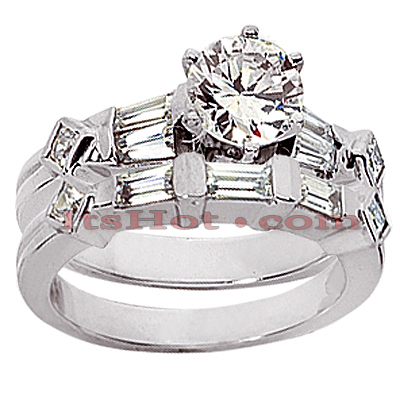 14K Gold Diamond Designer Engagement Ring Set 1ct