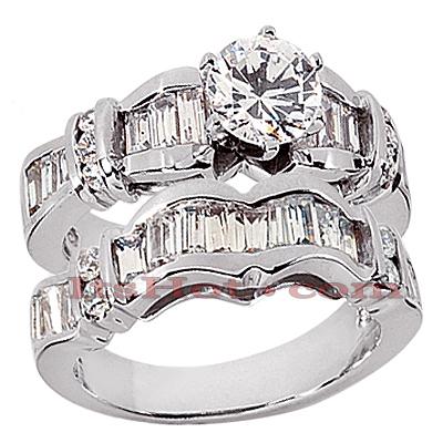 14K Gold Diamond Designer Engagement Ring Set 2.01ct