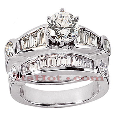 14K Gold Diamond Designer Engagement Ring Set 2.14ct
