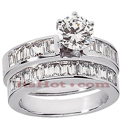14K Gold Diamond Designer Engagement Ring Set 2.34ct