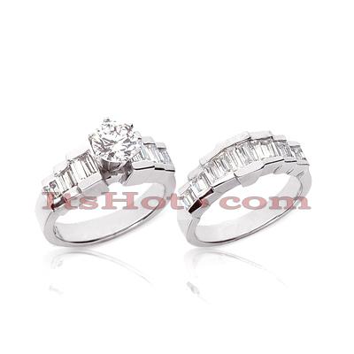 14K Gold Diamond Designer Engagement Ring Set 2.38ct
