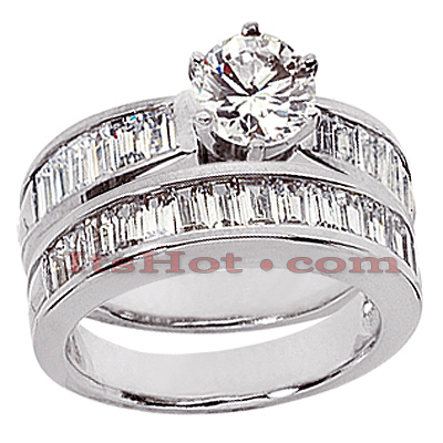 14K Gold Diamond Designer Engagement Ring Set 2.41ct