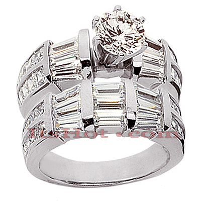 14K Gold Diamond Designer Engagement Ring Set 4.34ct